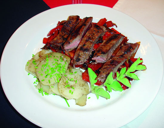 Grilled Skirt Steak with Hoisin Barbecue Glaze, served on a bed of ...